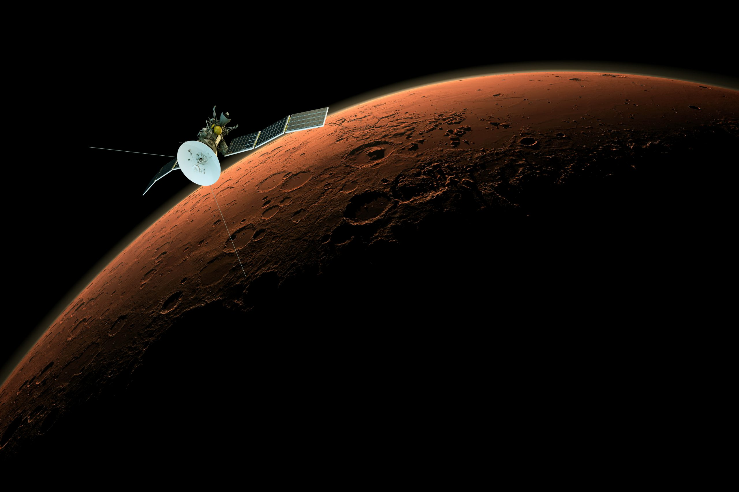 "modern satellite orbiting over mars ""Elements of this image furnished by NASA"""