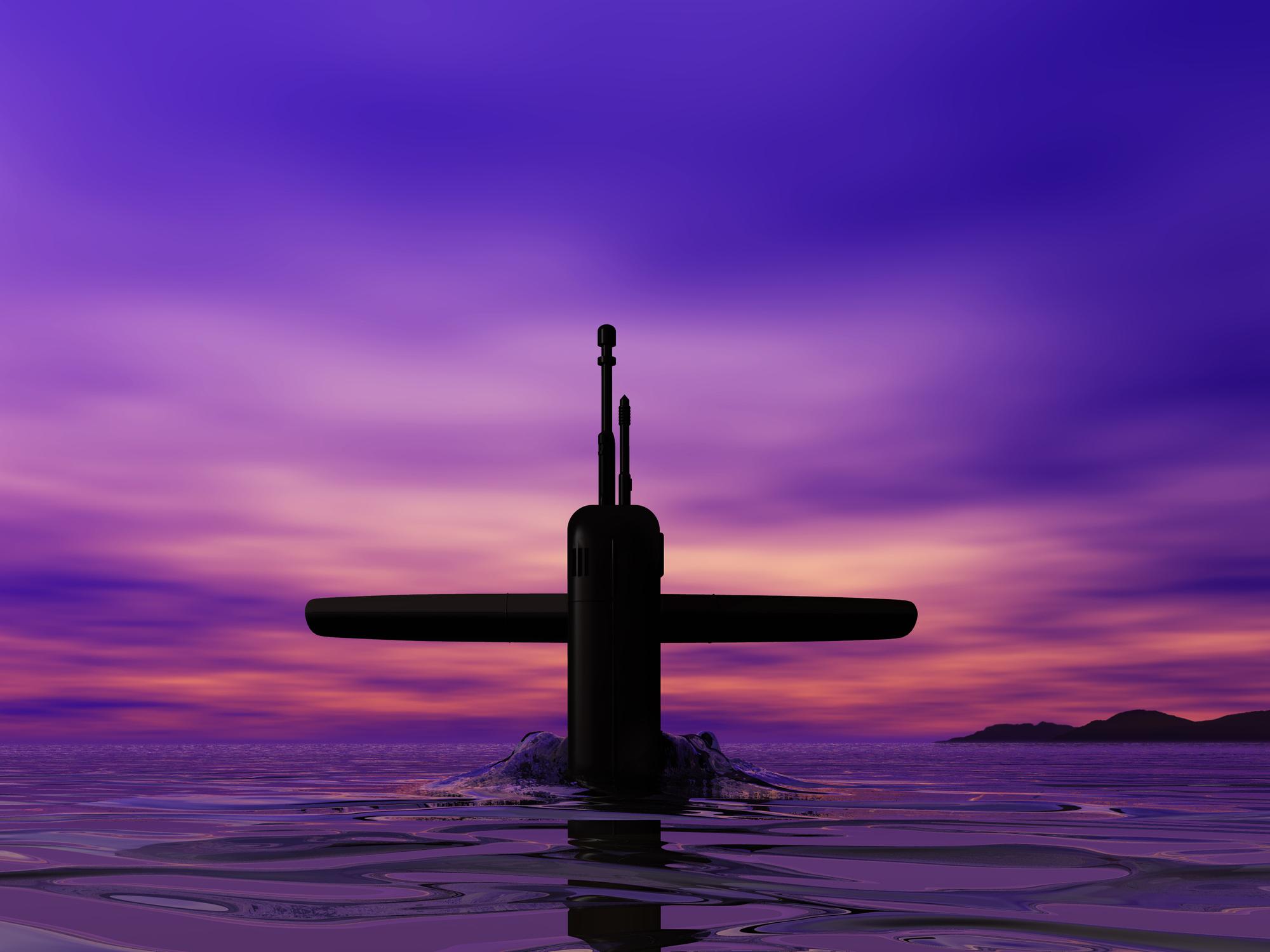 Submarine – dawn at sea